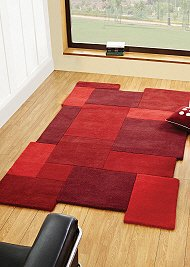 Abstract Collage Rug Red