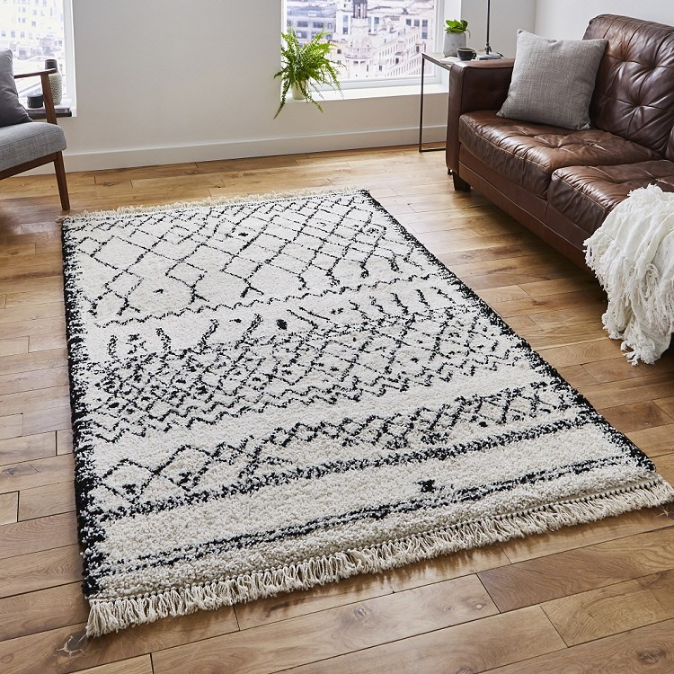 10 Off Boho Rugs Black White 5402 Express Rugs Uk