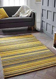 Carter Wool Rugs - Yellow/Grey