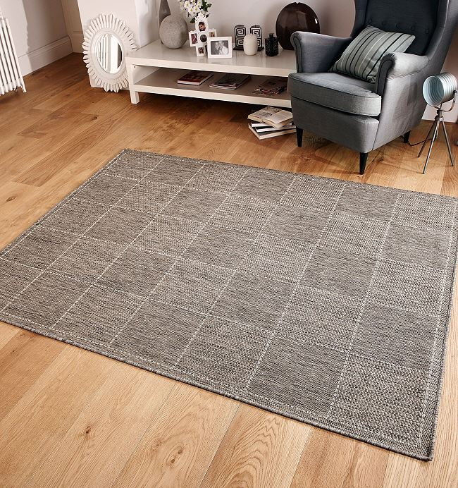 Checked Flatweave Grey Rugs And Hall Runners Free Delivery