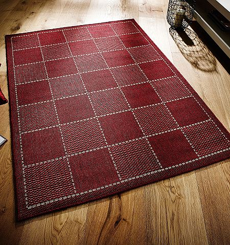 Checked Red Flatweave Rugs And Hall Runners Free Delivery