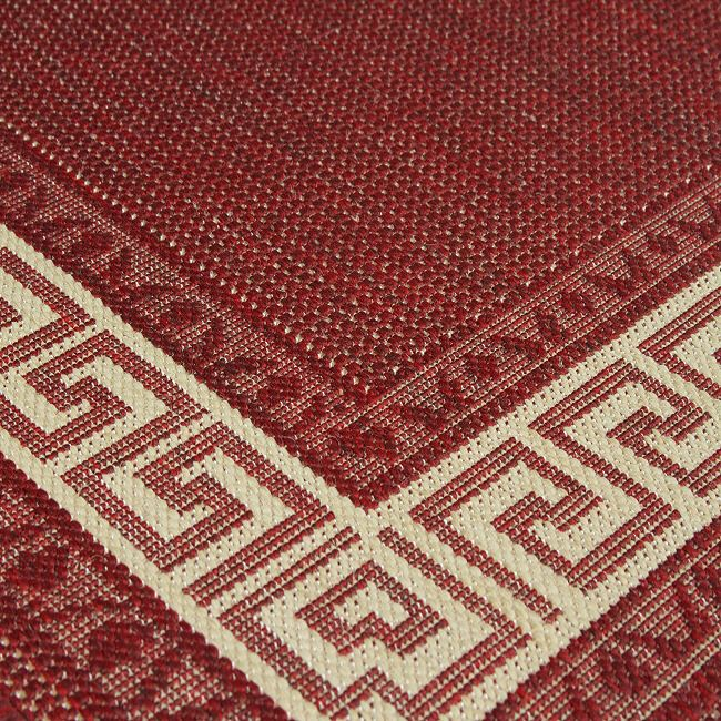 Greek Key Flatweave Rugs And Hall Runners In Red Free Delivery