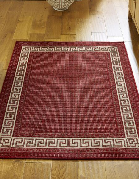 Greek Key Red Flatweave Rugs And Hall Runners Free Delivery