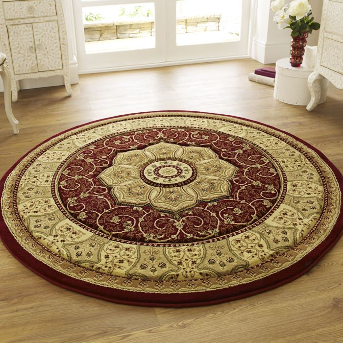 Heritage round rug red 4400 traditional round rugs only for Alfombras persas redondas