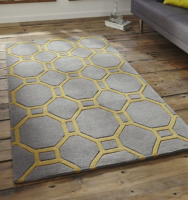 Hong Kong Rugs 4338 Grey Yellow Modern Rugs