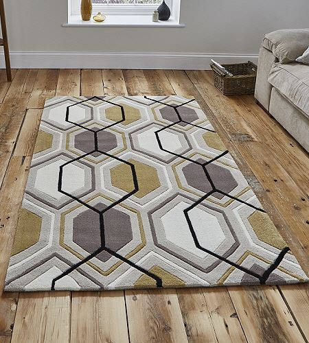 Modern Rugs Hong Kong: Hong Kong Rugs 7526 Beige And Yellow Modern Rugs From Only £68