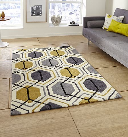 Hong Kong Rugs 7526 Grey Yellow Modern Rugs