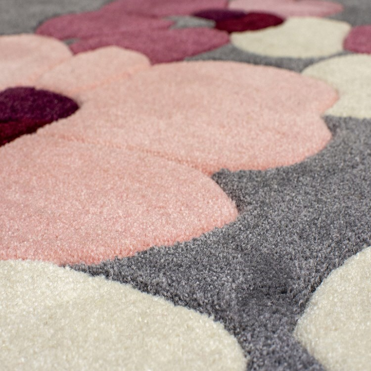 Infinite Blossom Rugs Grey Pink On Sale Expressrugs Uk
