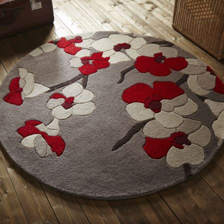 Infinite Round Rugs Blossom In Red And Taupe Only 163 69 95
