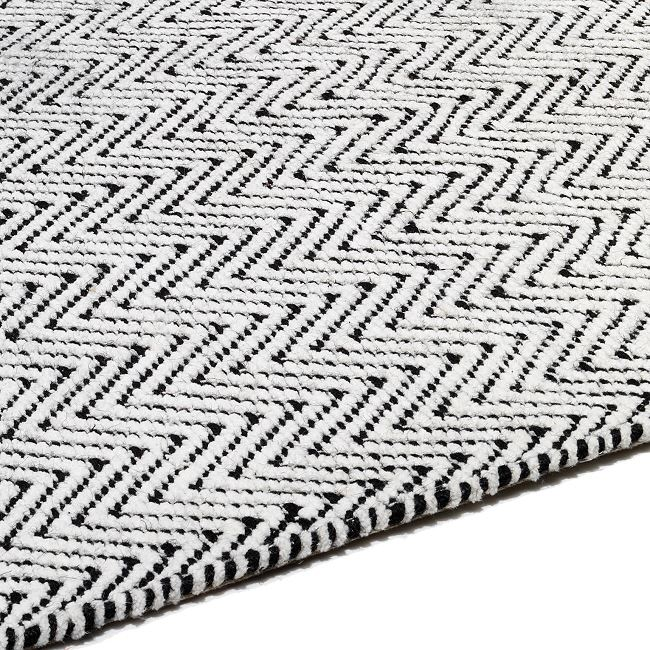 Ives Rug Black White Flatweave Rugs In Herringbone Design