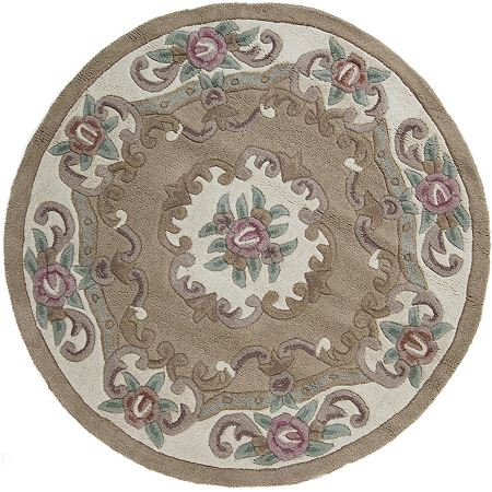 Beige Lotus Chinese Round Rugs Only 163 80