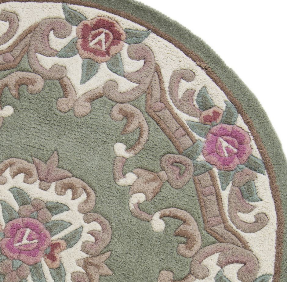 Light Green Lotus Chinese Round Rugs Only £80