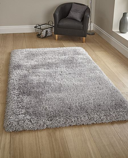 Montana Silver Rug Luxury Thick Pile Shaggy Rug