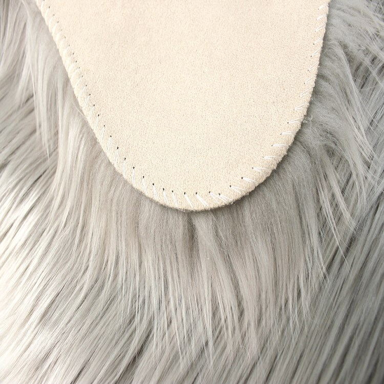 Fluffy Faux Fur Sheepskin Rugs In Grey Express Rugs Uk