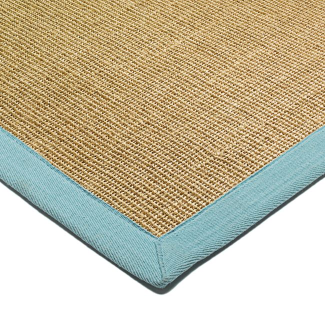 Flatweave Rug Natural Sisal Rug and Hall Runners - Aqua Blue Border ...