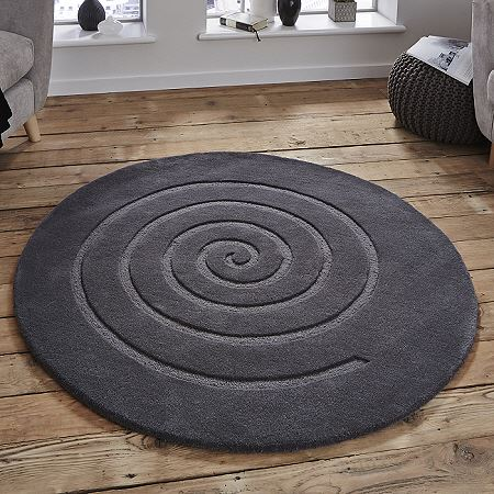 Spiral Round Rugs Grey From Only 163 159 99 Free Delivery To